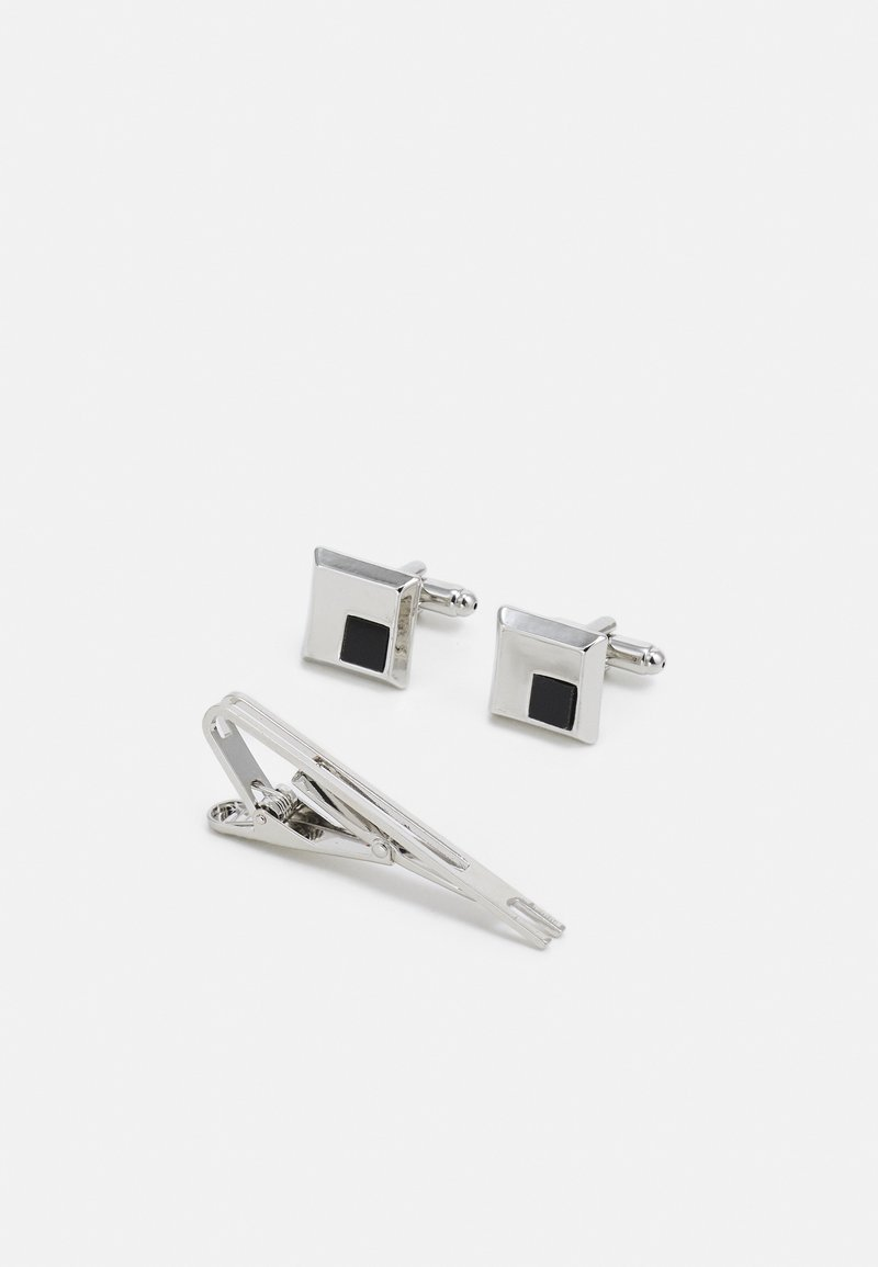 Burton Menswear London - SQUARE INLAY CUFFLINK AND TIE PIN SET - Manžetové knoflíčky - silver-coloured