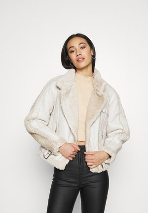 PREMIUM BORG BELTED AVIATOR - Faux leather jacket - cream