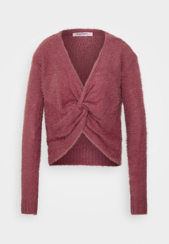FLUFFY KNOT FRONT CROP JUMPER - Neule - dusty pink