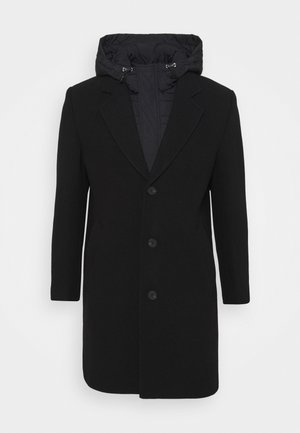 COAT WITH HOOD DETACHABLE - Mantel - black