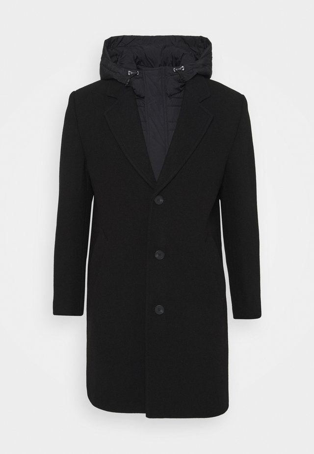 COAT WITH HOOD DETACHABLE - Cappotto classico - black