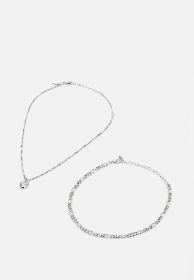 Topshop - HEART CHOKER SET - Necklace - silver-coloured