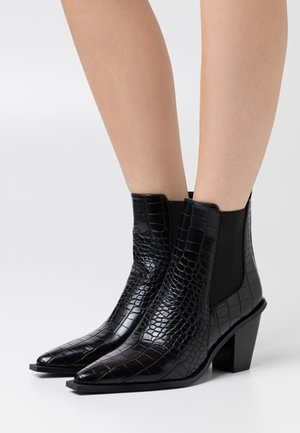 POINTY BLOCK HEEL BOOTS - Botines - black