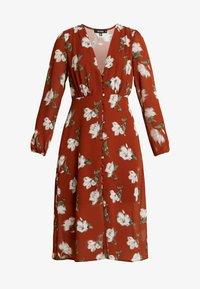 Missguided - FLORAL BUTTON DOWN MIDI DRESS - Shirt dress - brown - 5