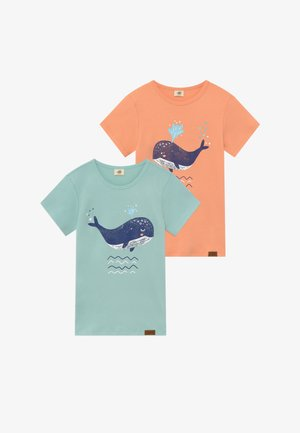 LITTLE WHALE PLACEMENT 2 PACK - T-shirt print - orange/green