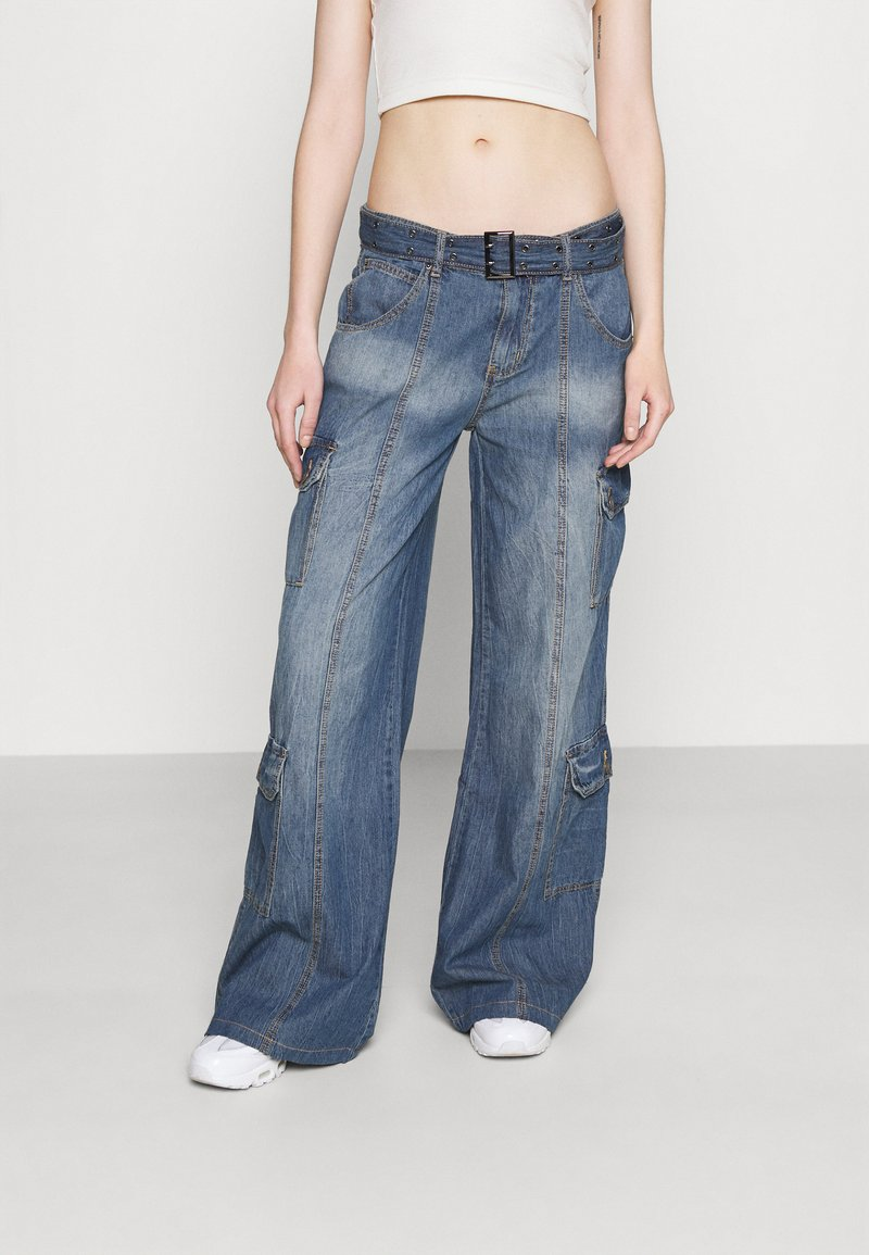 Jaded London - SKATER CARGO WITH BELT - Jeans relaxed fit - blue
