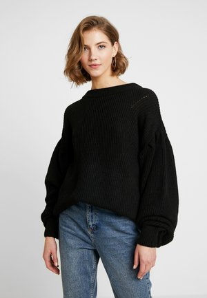PUFF SLEEVE - Strickpullover - deep black