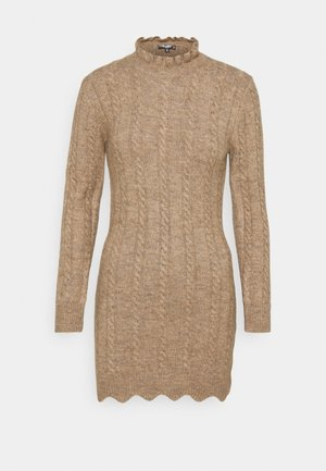 FRILL NECK MINI CABLE DRESS - Jumper dress - stone
