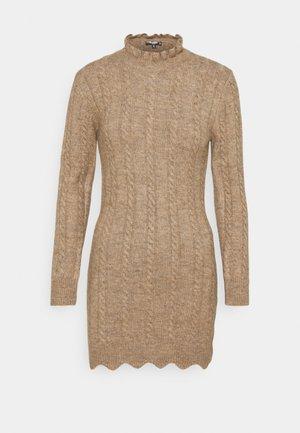 FRILL NECK MINI CABLE DRESS - Strikket kjole - stone