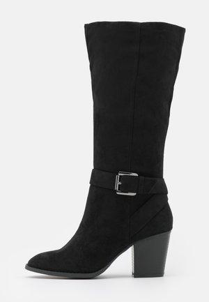 WIDE FIT BUCKLE LONG BOOT - Vysoká obuv - black