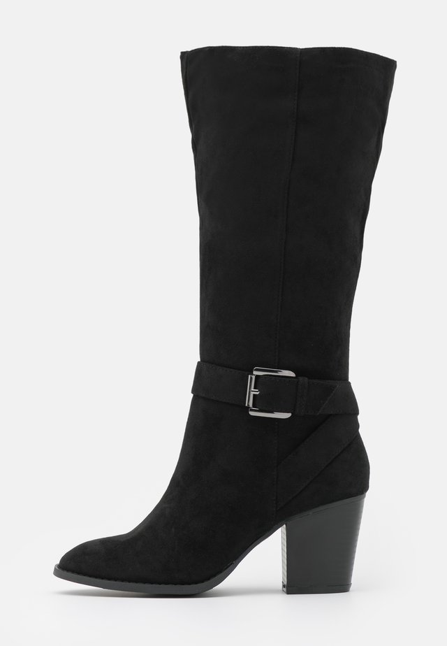 WIDE FIT BUCKLE LONG BOOT - Saappaat - black