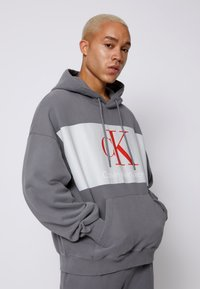 Calvin Klein Jeans - OVERSIZED LARGE BADGE HOODIE UNISEX - Sweatshirt - light grey - 0