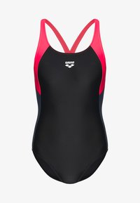 Arena - REN ONE PIECE - Swimsuit - black/fluo red/shark - 4