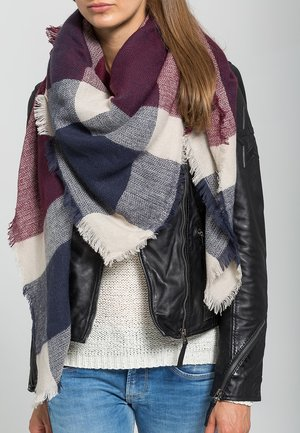 Scarf - dark blue/bordeaux/nude