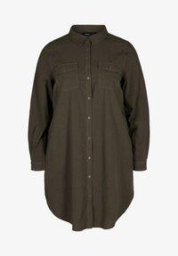 Zizzi - MIT BRUSTTASCHEN - Button-down blouse - green - 4