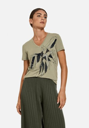 T-shirt print - reed green gemustert