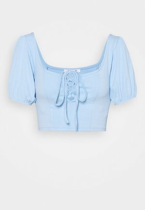CROP WITH LACE UP KEYHOLE FRONT - Print T-shirt - light blue