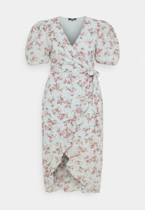 FLORAL BRODERIE WRAP HIGH LOW DRESS - Day dress - blue
