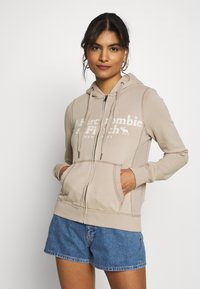 Abercrombie & Fitch - LONG LIFE FULL ZIP - Zip-up hoodie - cobblestone - 0