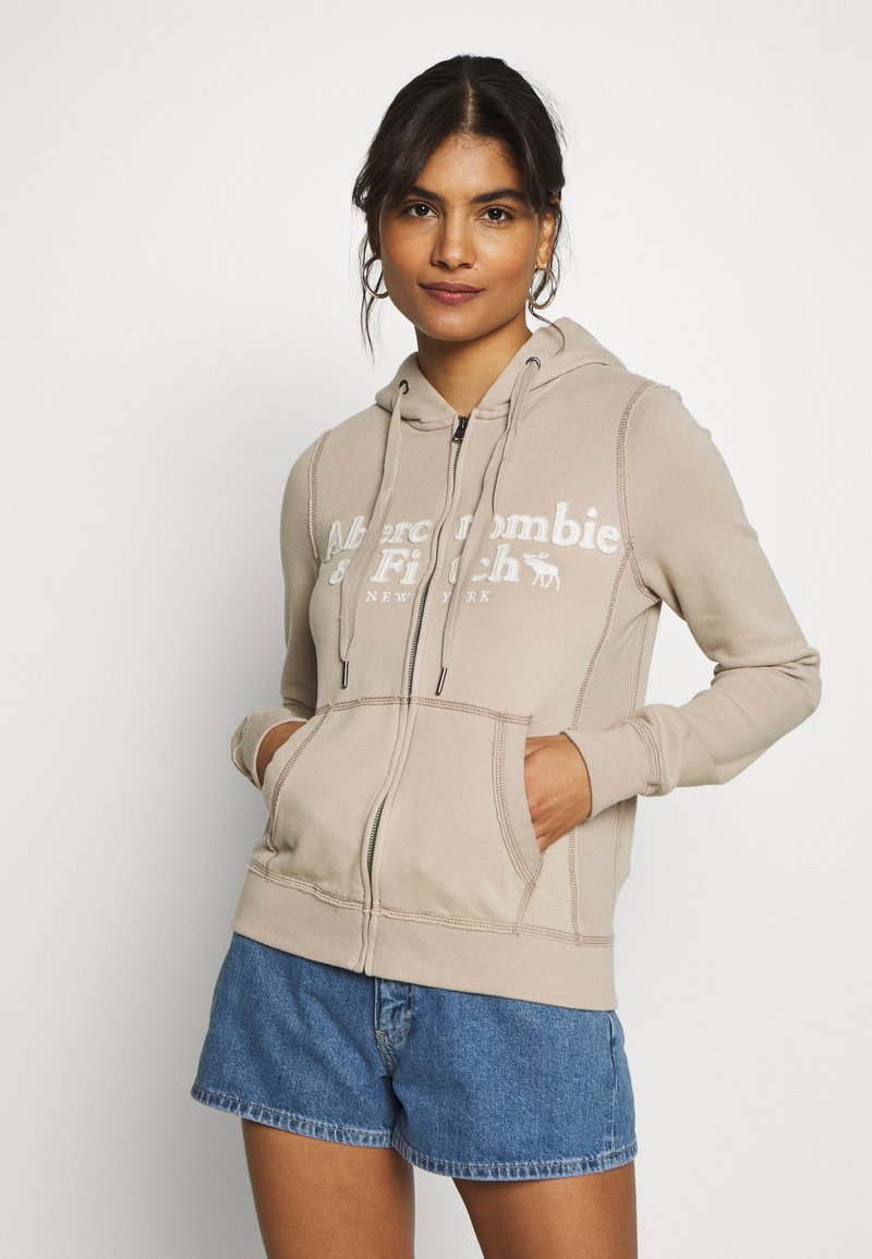Abercrombie & Fitch - LONG LIFE FULL ZIP - Zip-up hoodie - cobblestone