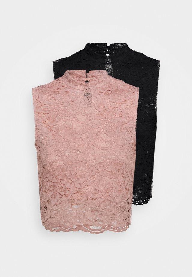 2 PACK - Top - black/pink