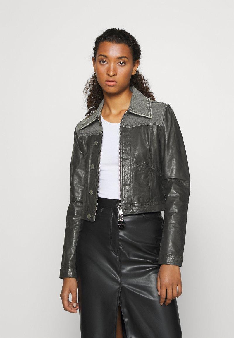 Diesel - LYLE JACKET - Leather jacket - black/grey