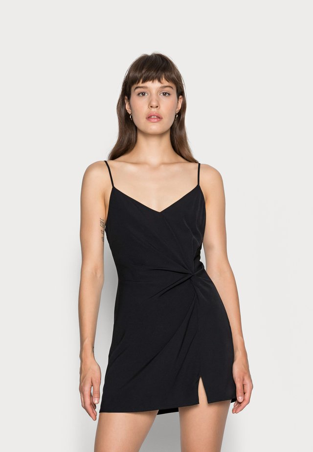 DRAPED SLIP DRESS  - Day dress - black solid