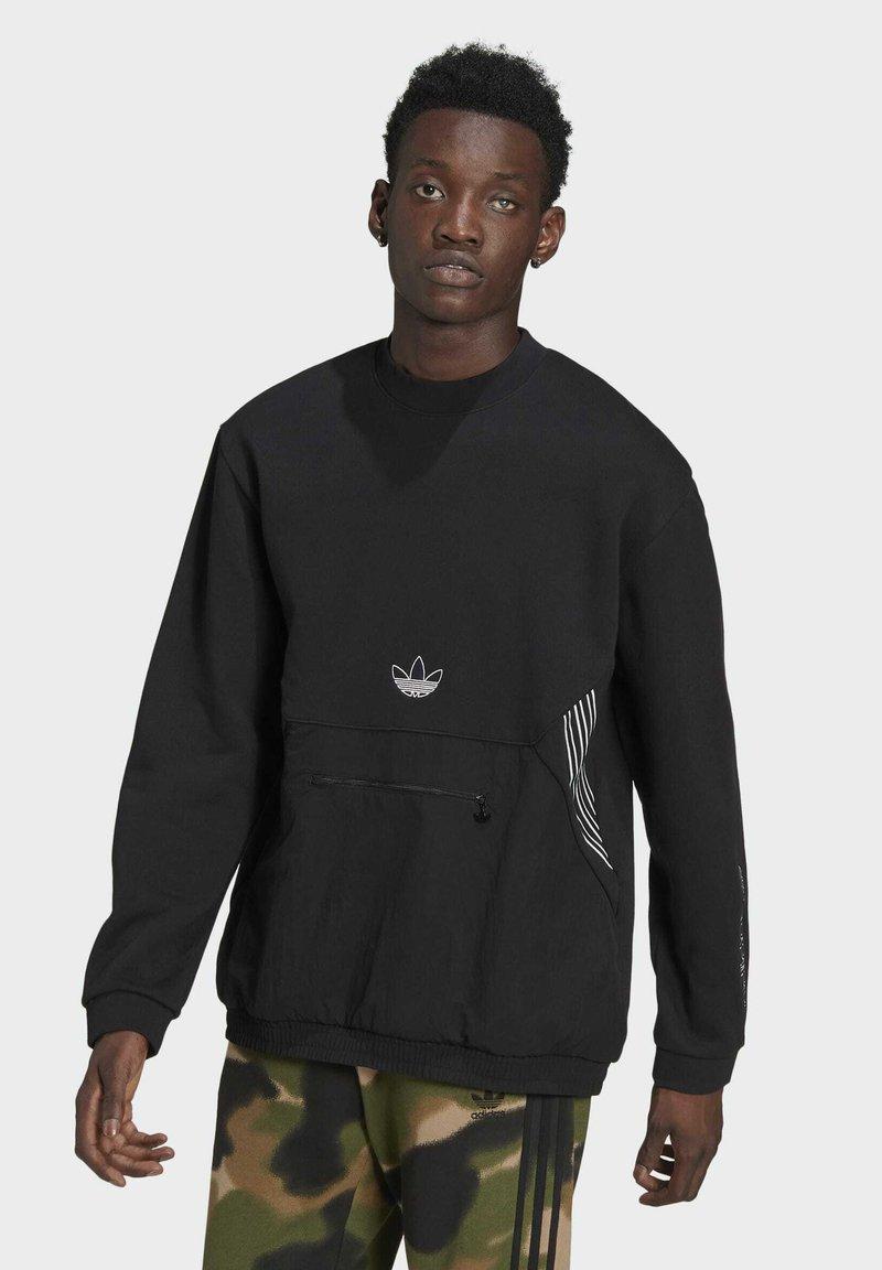 adidas Originals - SPRT ARCHIVE MIXED-MATERIAL CREW SWEATSHIRT - Sweatshirt - black