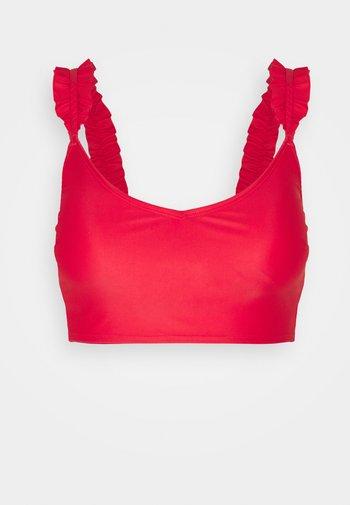 LONGLINE SCOOP RUFFLE - Bikini top - mascot red