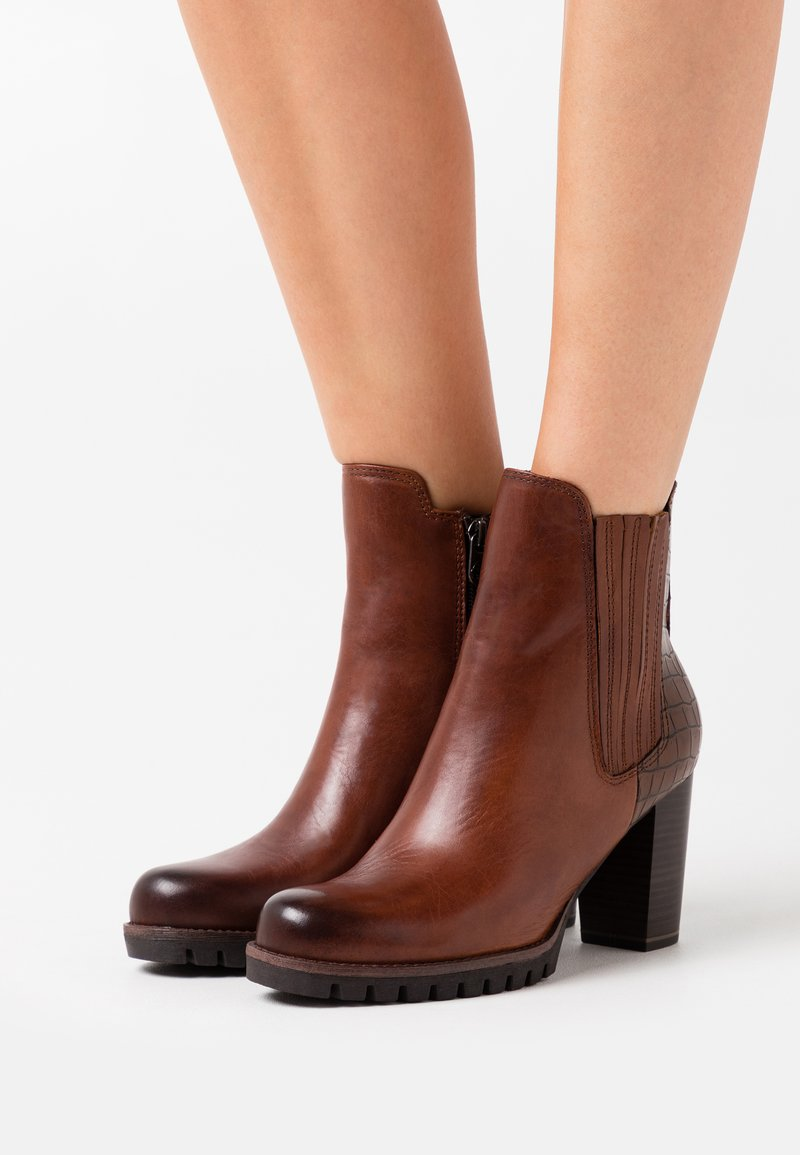 Marco Tozzi - BOOTS - High heeled ankle boots - cognac