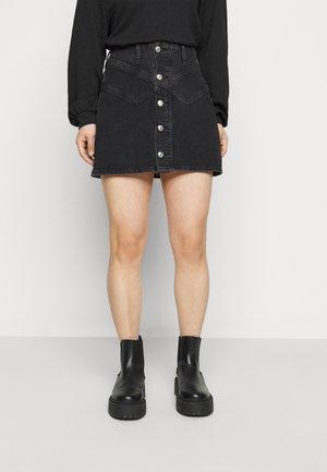 BUTTON YOKE SKIRT - A-line skirt - washed black