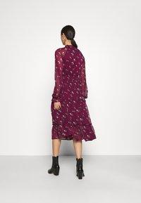 NA-KD - FRILL NECK MIDI DRESS - Day dress - dark red - 2