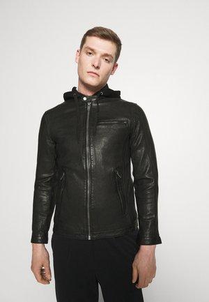 BEN HOOD - Leather jacket - black