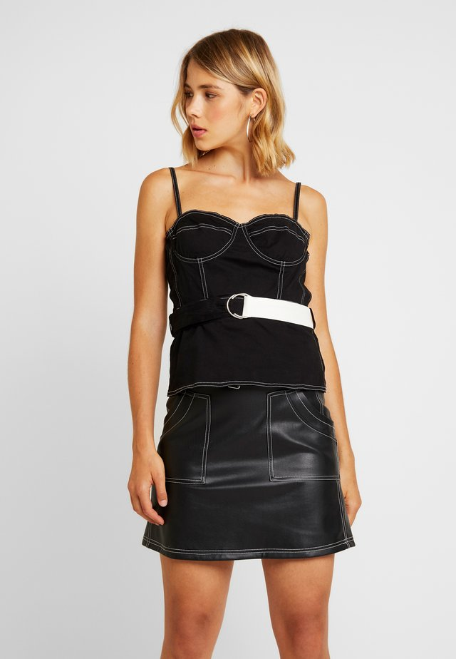 BUSTIER WITH CONTRAST STITCHING - Top - black