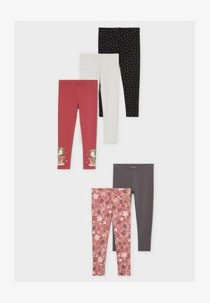 5 PACK - Leggings - Trousers - red / cremewhite