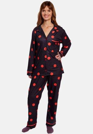 Pyžamová sada - black with red polka dots