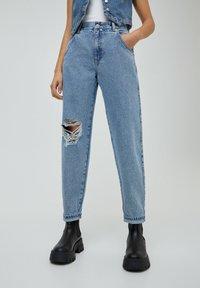 PULL&BEAR - Jeans a sigaretta - mottled dark blue - 0