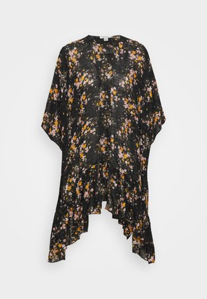 FLORAL RUFFLE DUSTER - Ponczo - true black