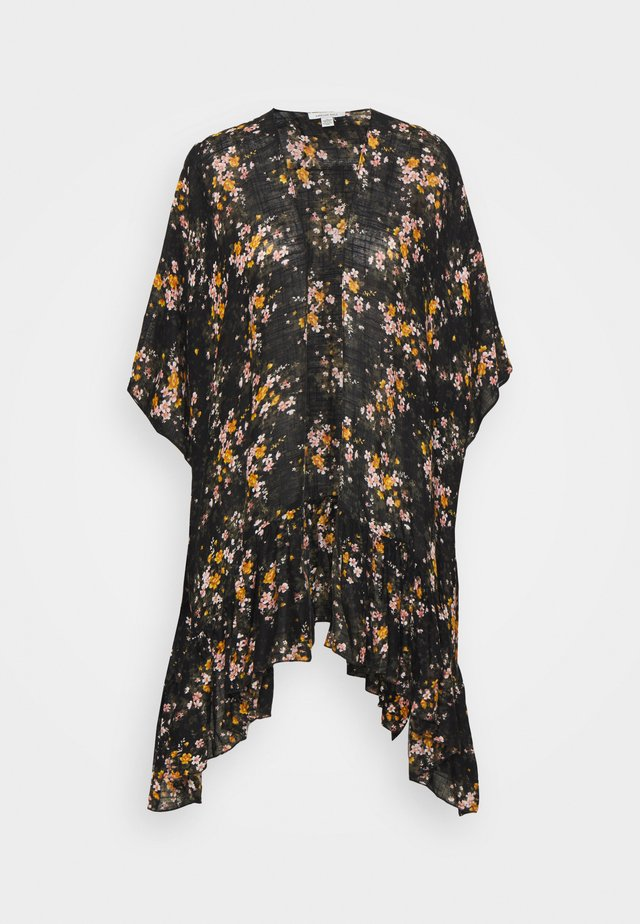 FLORAL RUFFLE DUSTER - Poncho - true black