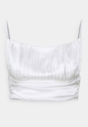 PLEATED STRAPPY CROP - Topper - white