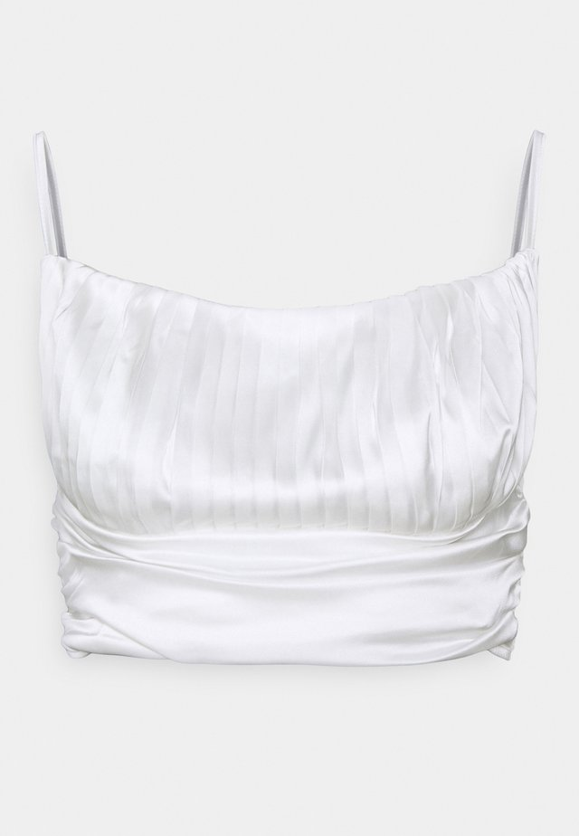 PLEATED STRAPPY CROP - Toppi - white
