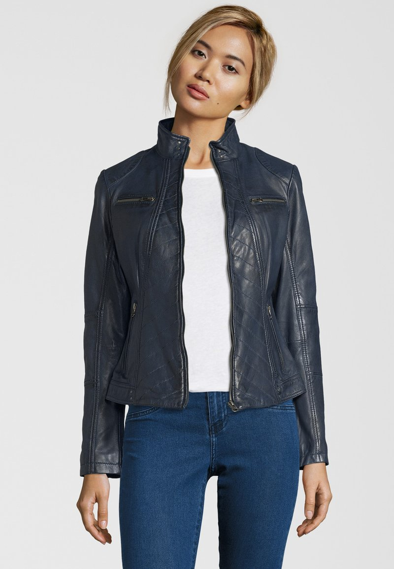7eleven - RENATE - Leather jacket - navy