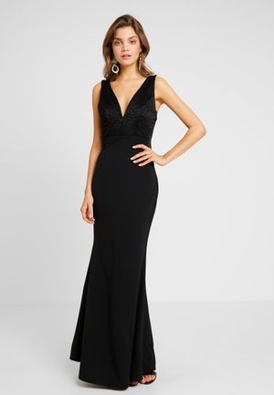 V NECK MAXI - Galajurk - black