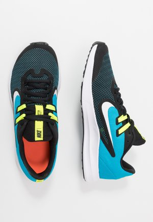 DOWNSHIFTER 9 - Neutral running shoes - black/white/laser blue/lemon