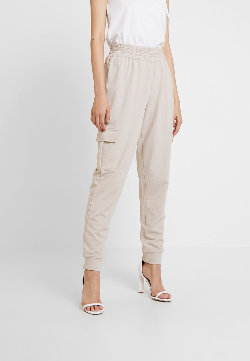 Missguided - UTILITY POCKET HIGH WAISTED - Tracksuit bottoms - nude
