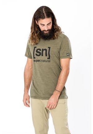 MERINO T-SHIRT M LOGO TEE - Print T-shirt - olivgrün