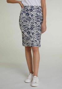 Oui - Pencil skirt - white blue - 0