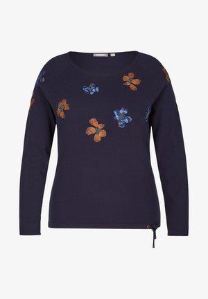 GESTICKTEN BLUMEN UND GLITZERNIETEN - Sweatshirt - blau