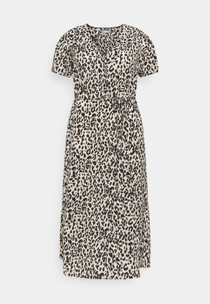 BUTTON LEOPARD MIDI TEA DRESS - Maxi dress - black