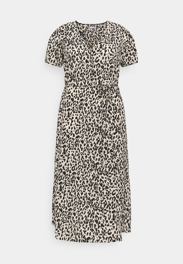 BUTTON LEOPARD MIDI TEA DRESS - Maxi-jurk - black